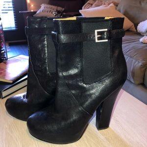 NineWest black leather platform booties